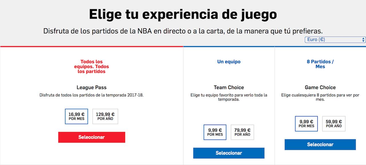 Paquetes del NBA League Pass